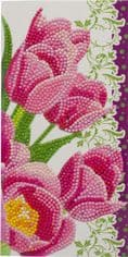 Crystal Art D.I.Y Pink Tulips Card Kit by Craft Buddy